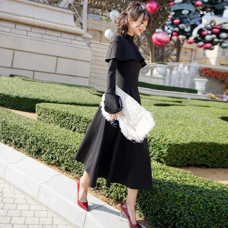 【即納】韓国 ファッション ワンピース パーティードレス ロング マキシ 秋 冬 パーティー ブライダル SPTXC533 結婚式 お呼ばれ ハイネック オフショルダー風 ベ 二次会 セレブ きれいめの写真5枚目