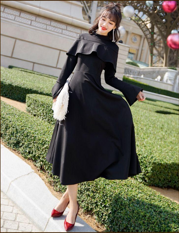 【即納】韓国 ファッション ワンピース パーティードレス ロング マキシ 秋 冬 パーティー ブライダル SPTXC533 結婚式 お呼ばれ ハイネック オフショルダー風 ベ 二次会 セレブ きれいめの写真7枚目