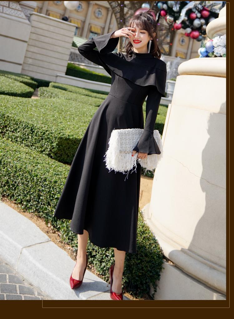 【即納】韓国 ファッション ワンピース パーティードレス ロング マキシ 秋 冬 パーティー ブライダル SPTXC533 結婚式 お呼ばれ ハイネック オフショルダー風 ベ 二次会 セレブ きれいめの写真8枚目