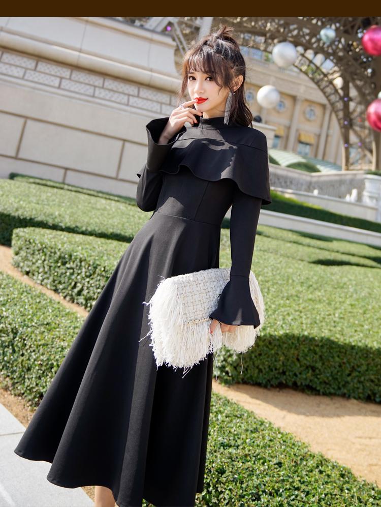 【即納】韓国 ファッション ワンピース パーティードレス ロング マキシ 秋 冬 パーティー ブライダル SPTXC533 結婚式 お呼ばれ ハイネック オフショルダー風 ベ 二次会 セレブ きれいめの写真9枚目