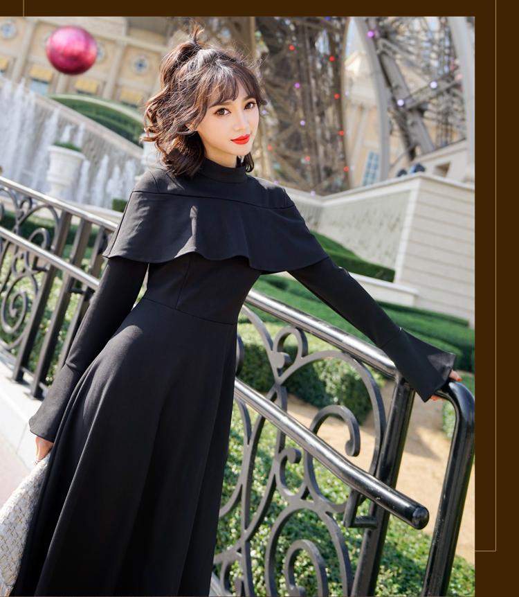 【即納】韓国 ファッション ワンピース パーティードレス ロング マキシ 秋 冬 パーティー ブライダル SPTXC533 結婚式 お呼ばれ ハイネック オフショルダー風 ベ 二次会 セレブ きれいめの写真10枚目