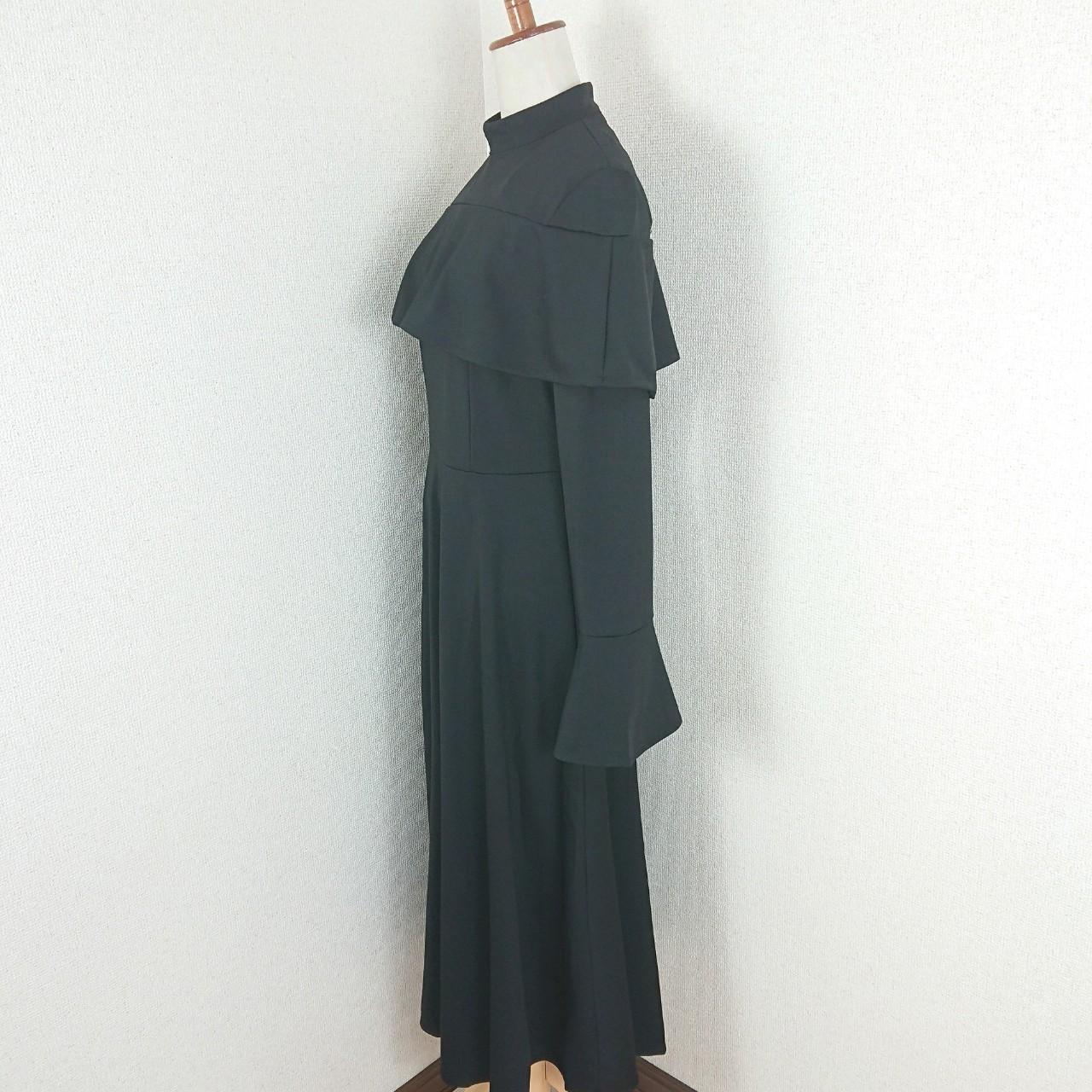 【即納】韓国 ファッション ワンピース パーティードレス ロング マキシ 秋 冬 パーティー ブライダル SPTXC533 結婚式 お呼ばれ ハイネック オフショルダー風 ベ 二次会 セレブ きれいめの写真14枚目