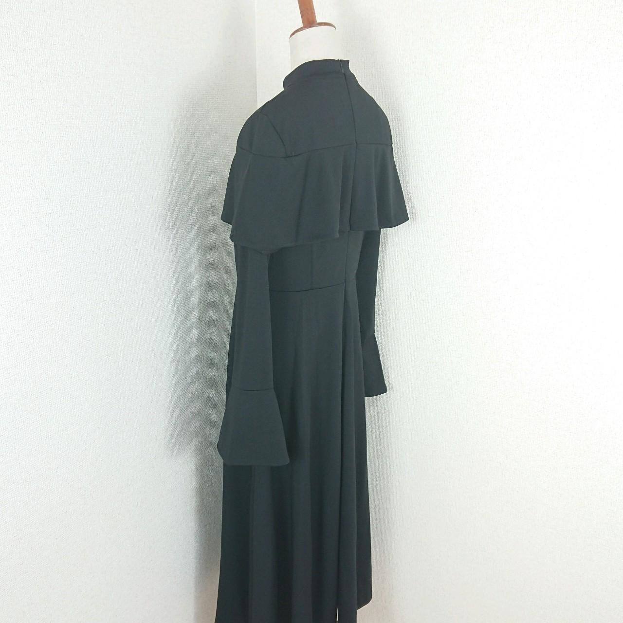 【即納】韓国 ファッション ワンピース パーティードレス ロング マキシ 秋 冬 パーティー ブライダル SPTXC533 結婚式 お呼ばれ ハイネック オフショルダー風 ベ 二次会 セレブ きれいめの写真15枚目