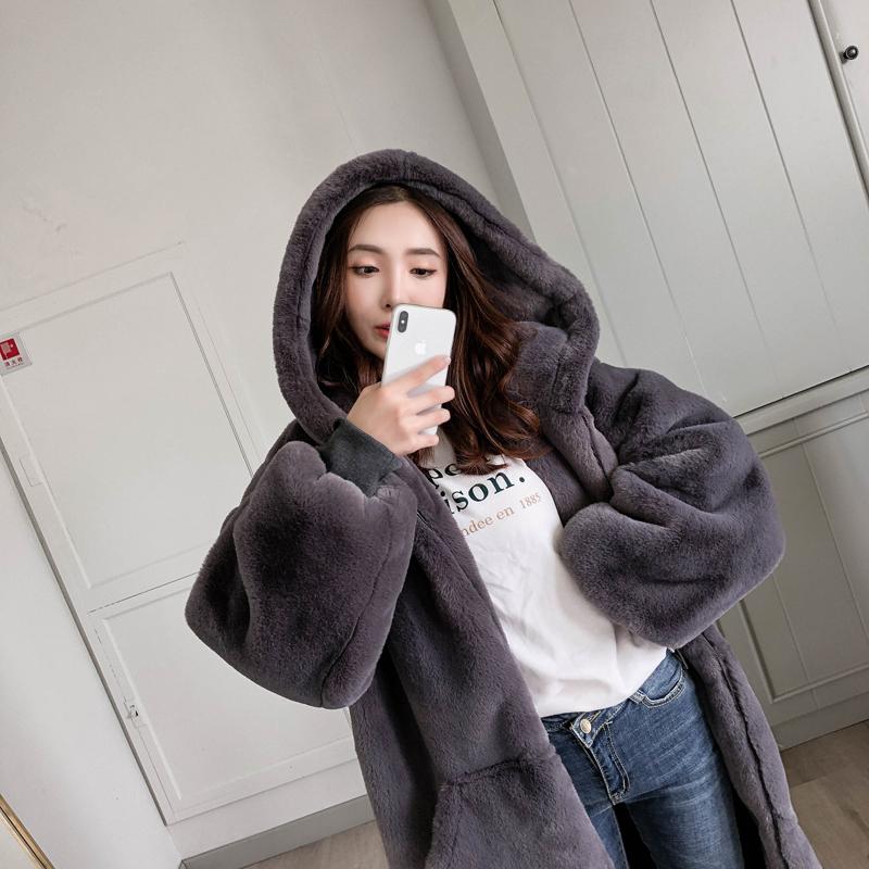 【即納】韓国 ファッション アウター ムートン ファーコート 秋 冬 カジュアル SPTXC599  もこもこ ふわふわ エコファー パーカー オーバーサイズ フ オルチャン シンプル 定番 セレカジの写真3枚目