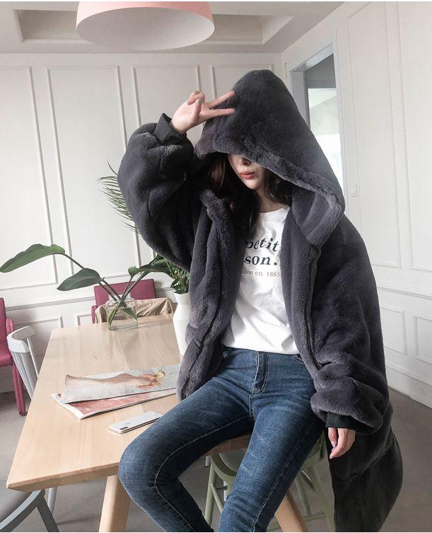 【即納】韓国 ファッション アウター ムートン ファーコート 秋 冬 カジュアル SPTXC599  もこもこ ふわふわ エコファー パーカー オーバーサイズ フ オルチャン シンプル 定番 セレカジの写真5枚目