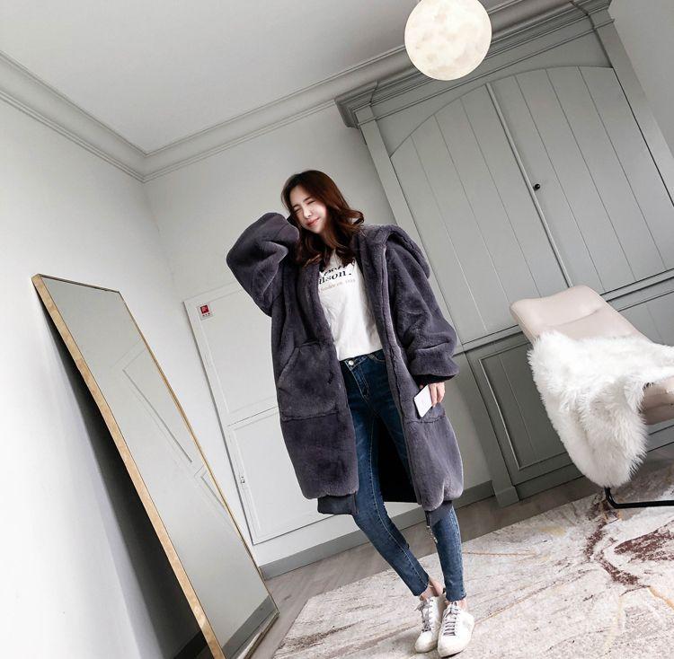 【即納】韓国 ファッション アウター ムートン ファーコート 秋 冬 カジュアル SPTXC599  もこもこ ふわふわ エコファー パーカー オーバーサイズ フ オルチャン シンプル 定番 セレカジの写真6枚目