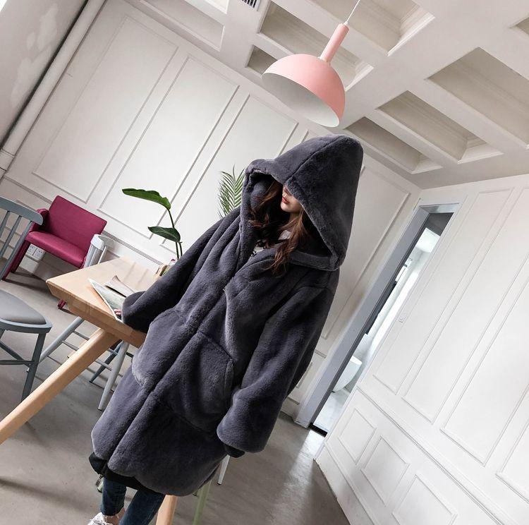 【即納】韓国 ファッション アウター ムートン ファーコート 秋 冬 カジュアル SPTXC599  もこもこ ふわふわ エコファー パーカー オーバーサイズ フ オルチャン シンプル 定番 セレカジの写真7枚目