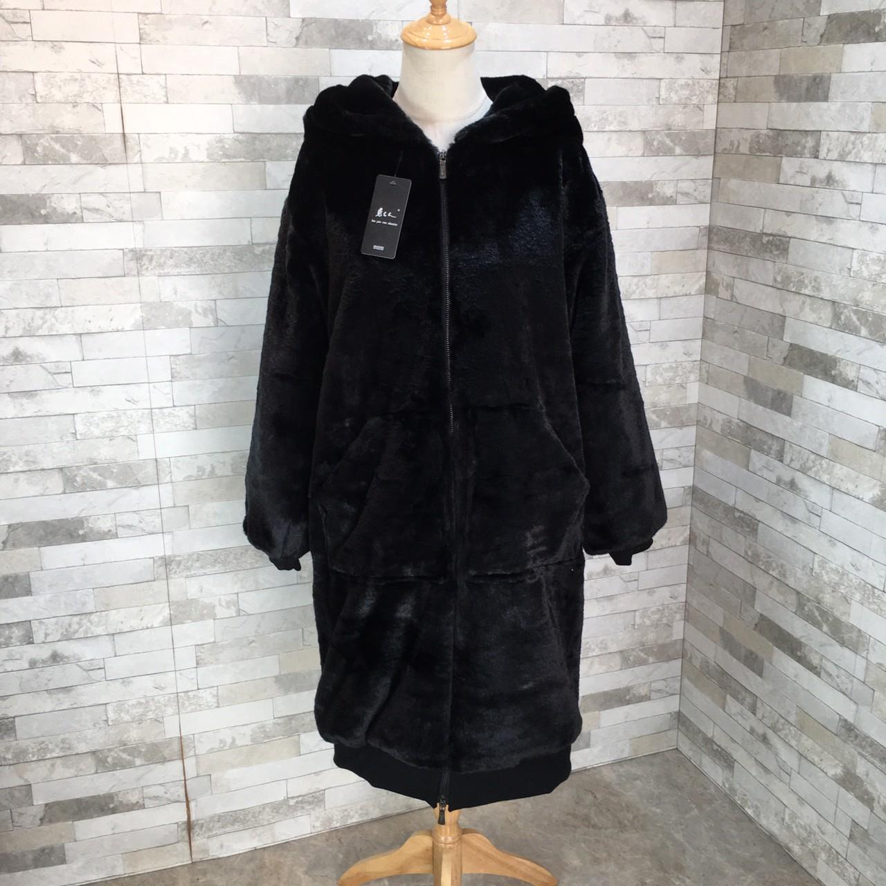 【即納】韓国 ファッション アウター ムートン ファーコート 秋 冬 カジュアル SPTXC599  もこもこ ふわふわ エコファー パーカー オーバーサイズ フ オルチャン シンプル 定番 セレカジの写真10枚目