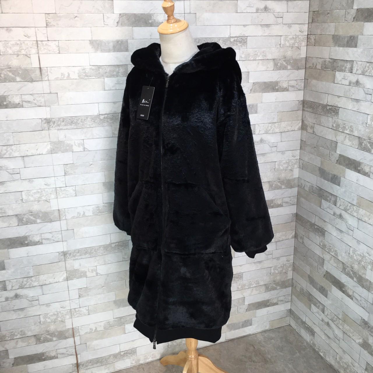 【即納】韓国 ファッション アウター ムートン ファーコート 秋 冬 カジュアル SPTXC599  もこもこ ふわふわ エコファー パーカー オーバーサイズ フ オルチャン シンプル 定番 セレカジの写真13枚目