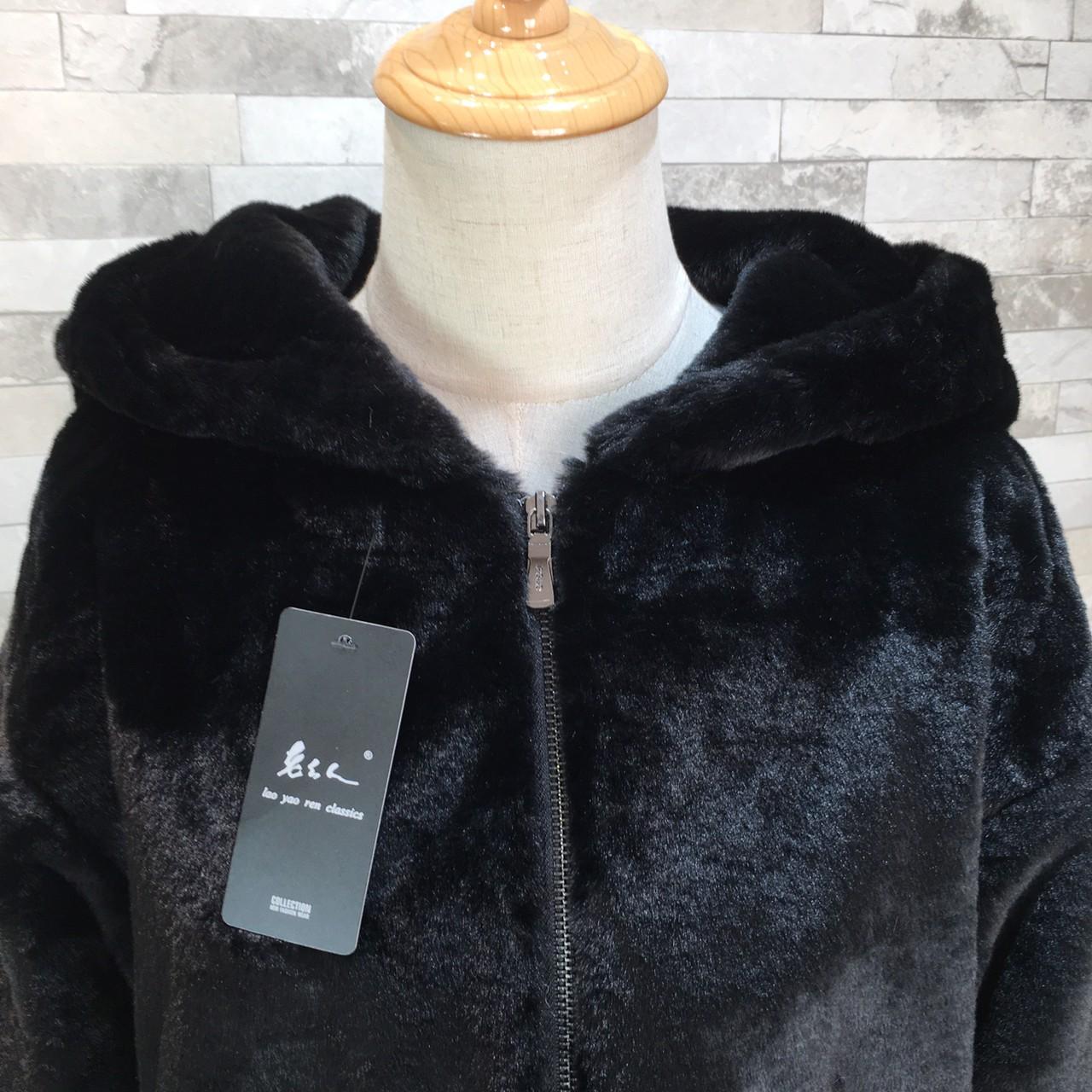 【即納】韓国 ファッション アウター ムートン ファーコート 秋 冬 カジュアル SPTXC599  もこもこ ふわふわ エコファー パーカー オーバーサイズ フ オルチャン シンプル 定番 セレカジの写真15枚目