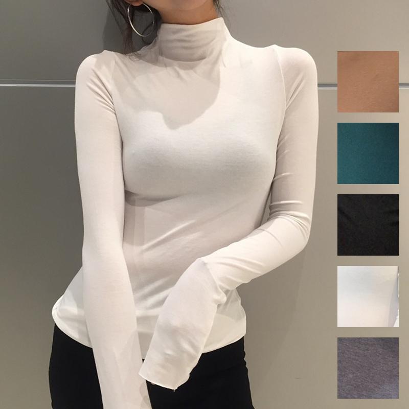 【即納】韓国 ファッション トップス Tシャツ カットソー 秋 冬 カジュアル SPTXD048  ボトルネック ハイネック ロンT ベーシック タイト ジャケッ オルチャン シンプル 定番 セレカジの写真1枚目