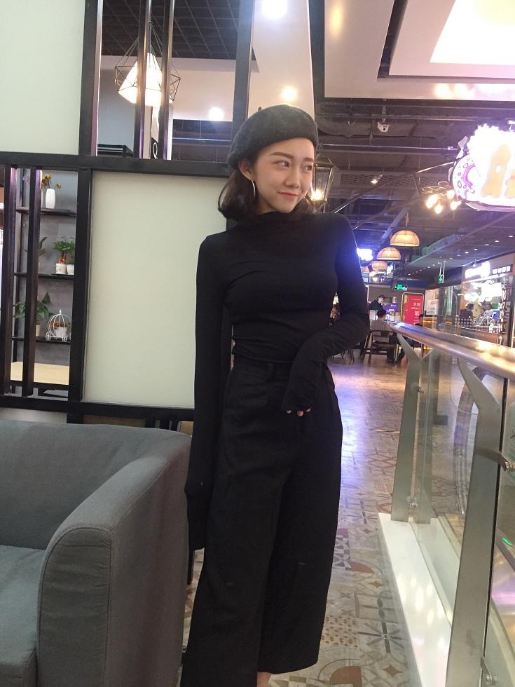【即納】韓国 ファッション トップス Tシャツ カットソー 秋 冬 カジュアル SPTXD048  ボトルネック ハイネック ロンT ベーシック タイト ジャケッ オルチャン シンプル 定番 セレカジの写真14枚目