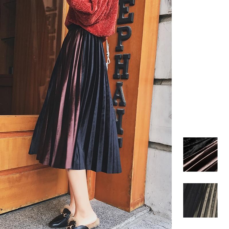 「さりげなさがオシャレ上級者!」バイカラープリーツスカート 秋 冬 PTXD086の写真1枚目