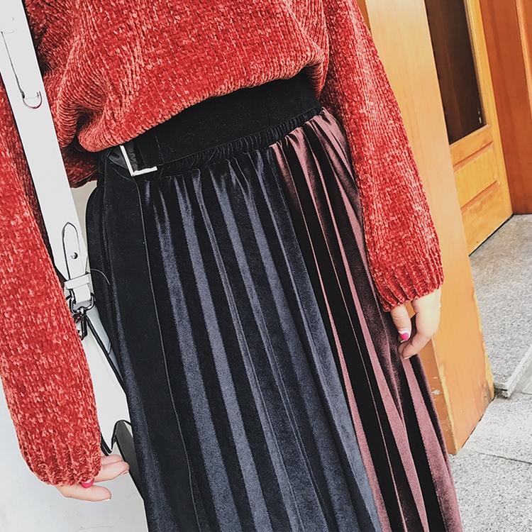 「さりげなさがオシャレ上級者!」バイカラープリーツスカート 秋 冬 PTXD086の写真5枚目