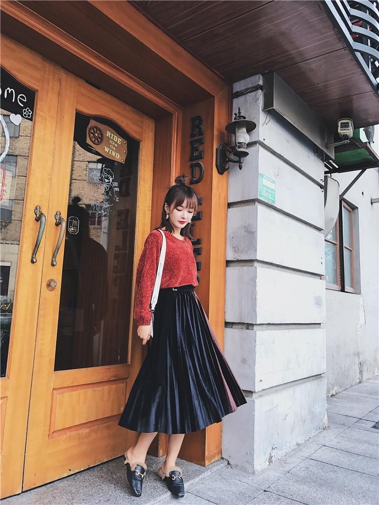 「さりげなさがオシャレ上級者!」バイカラープリーツスカート 秋 冬 PTXD086の写真11枚目