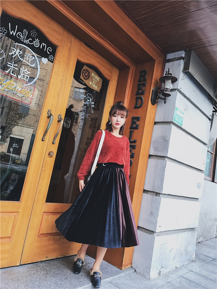 「さりげなさがオシャレ上級者!」バイカラープリーツスカート 秋 冬 PTXD086の写真12枚目