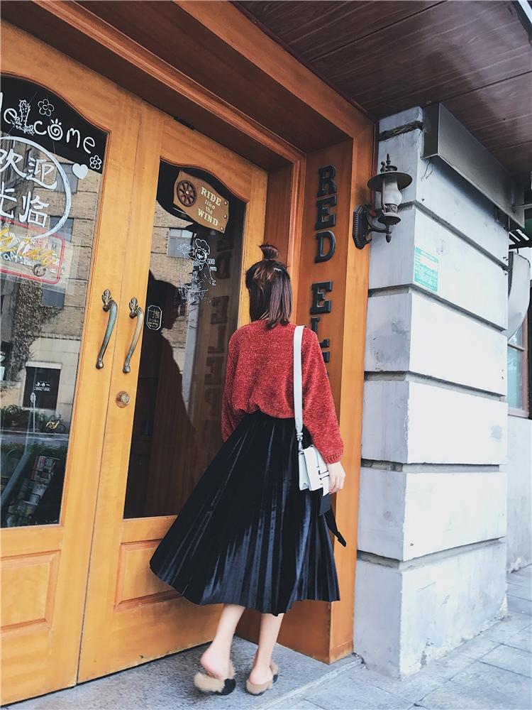 「さりげなさがオシャレ上級者!」バイカラープリーツスカート 秋 冬 PTXD086の写真13枚目