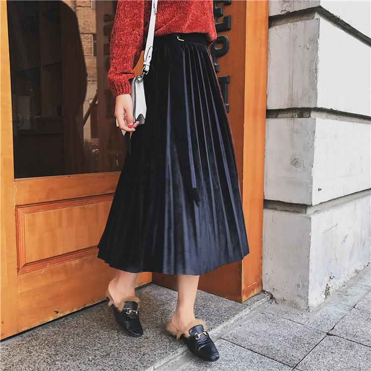 「さりげなさがオシャレ上級者!」バイカラープリーツスカート 秋 冬 PTXD086の写真14枚目