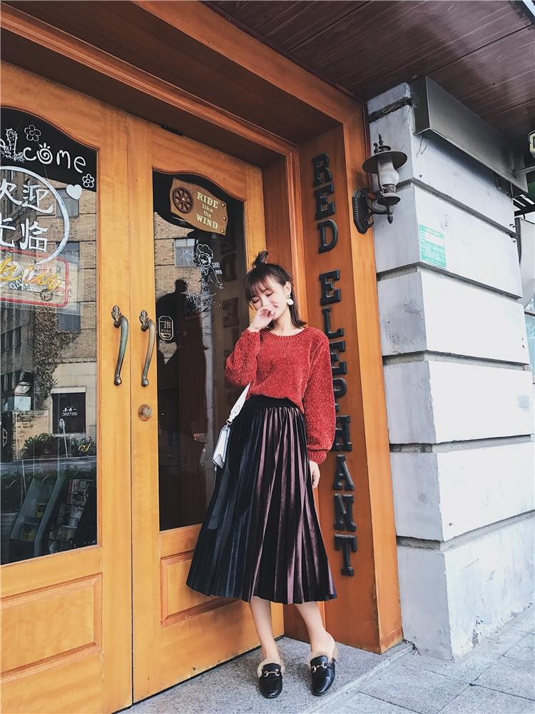 「さりげなさがオシャレ上級者!」バイカラープリーツスカート 秋 冬 PTXD086の写真15枚目