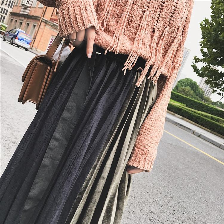 「さりげなさがオシャレ上級者!」バイカラープリーツスカート 秋 冬 PTXD086の写真19枚目