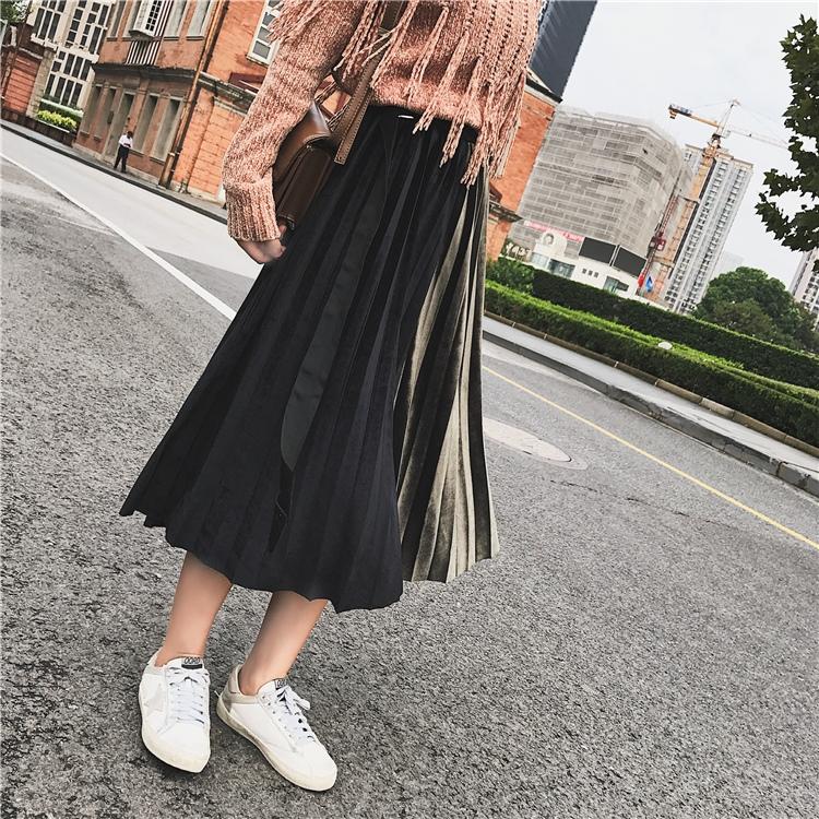 「さりげなさがオシャレ上級者!」バイカラープリーツスカート 秋 冬 PTXD086の写真20枚目