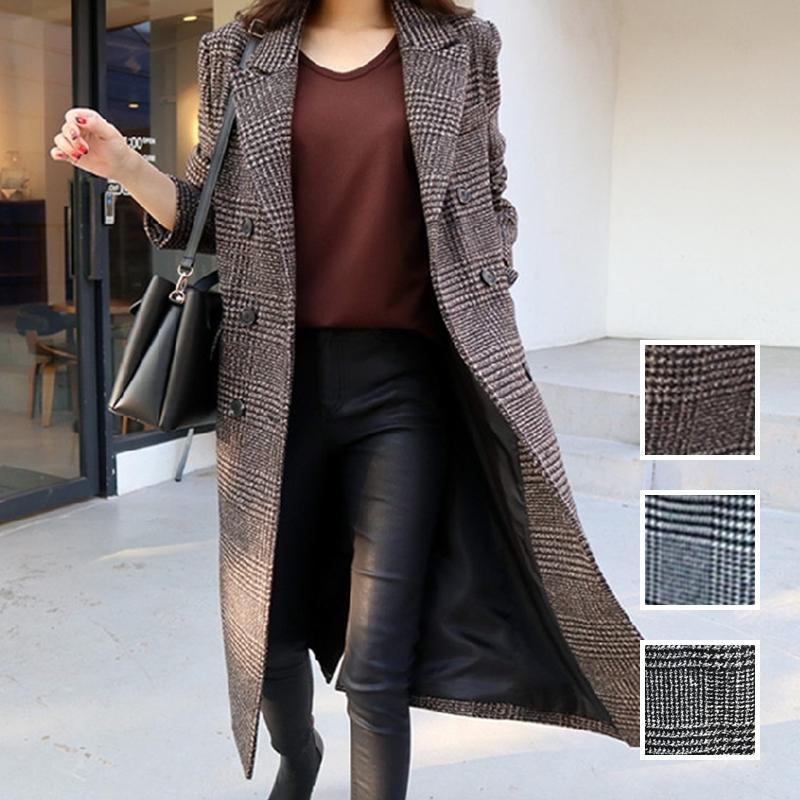 【即納】韓国 ファッション アウター コート 秋 冬 カジュアル SPTXD248  グレンチェック ダブル ロング チェスター オフィス エレガント オルチャン シンプル 定番 セレカジの写真1枚目