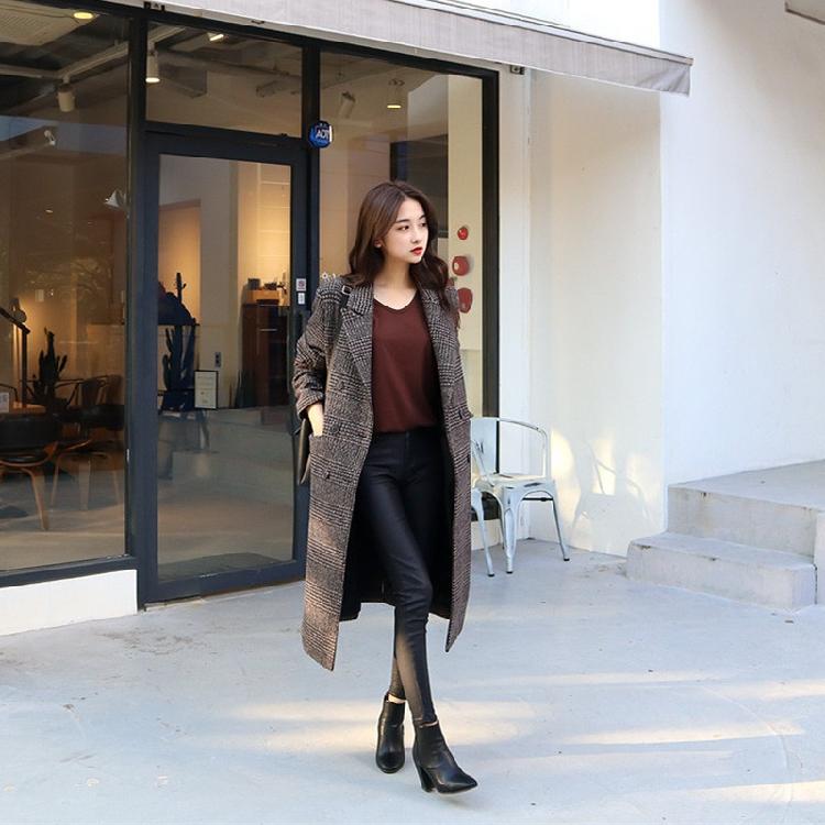 【即納】韓国 ファッション アウター コート 秋 冬 カジュアル SPTXD248  グレンチェック ダブル ロング チェスター オフィス エレガント オルチャン シンプル 定番 セレカジの写真2枚目