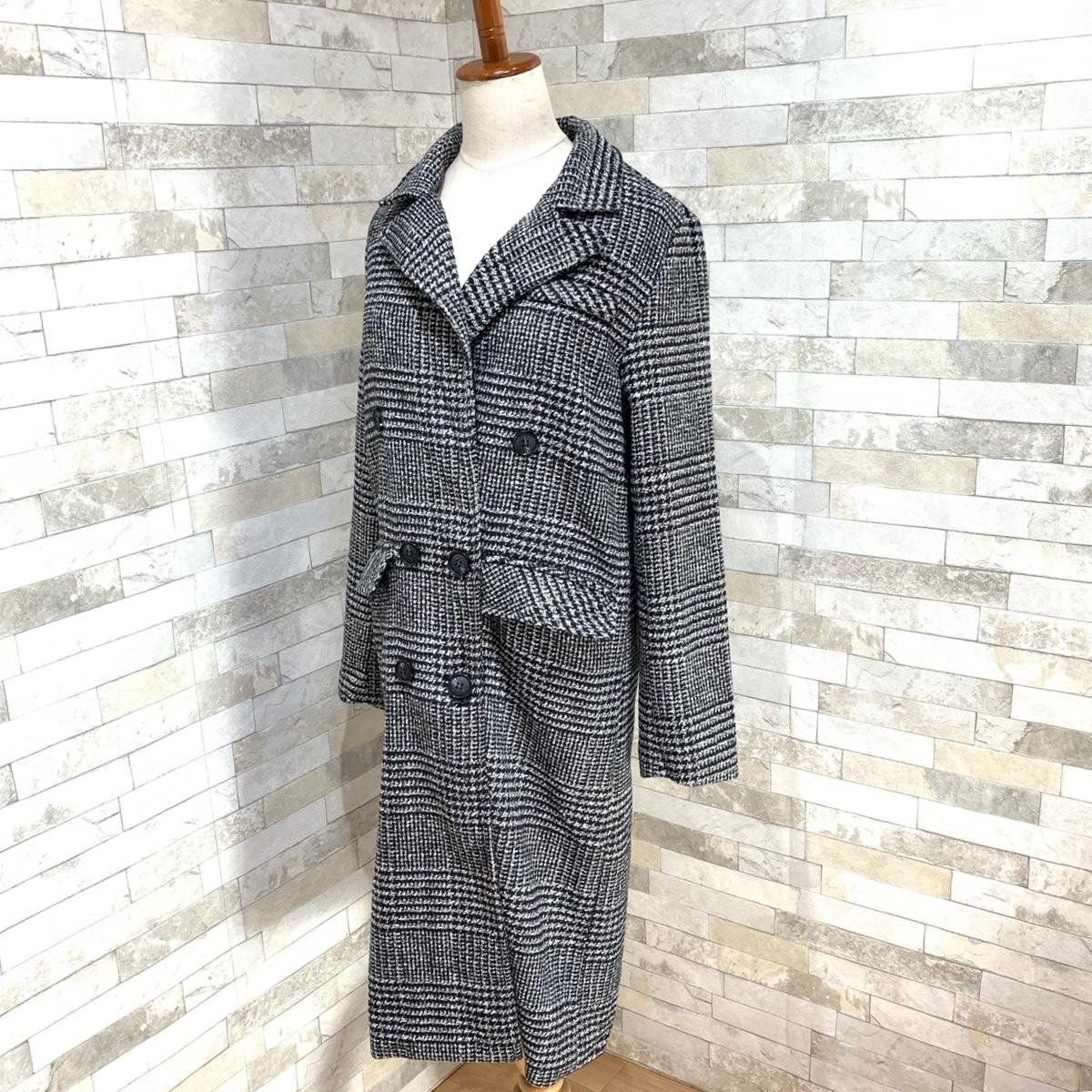 【即納】韓国 ファッション アウター コート 秋 冬 カジュアル SPTXD248  グレンチェック ダブル ロング チェスター オフィス エレガント オルチャン シンプル 定番 セレカジの写真5枚目
