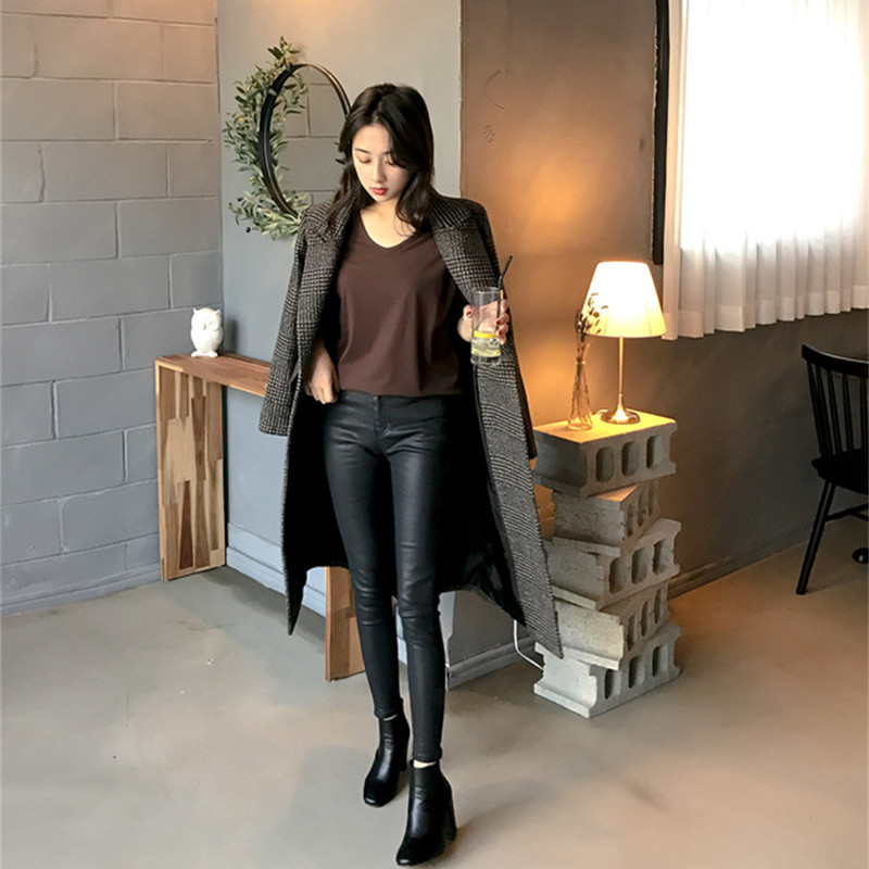 【即納】韓国 ファッション アウター コート 秋 冬 カジュアル SPTXD248  グレンチェック ダブル ロング チェスター オフィス エレガント オルチャン シンプル 定番 セレカジの写真6枚目