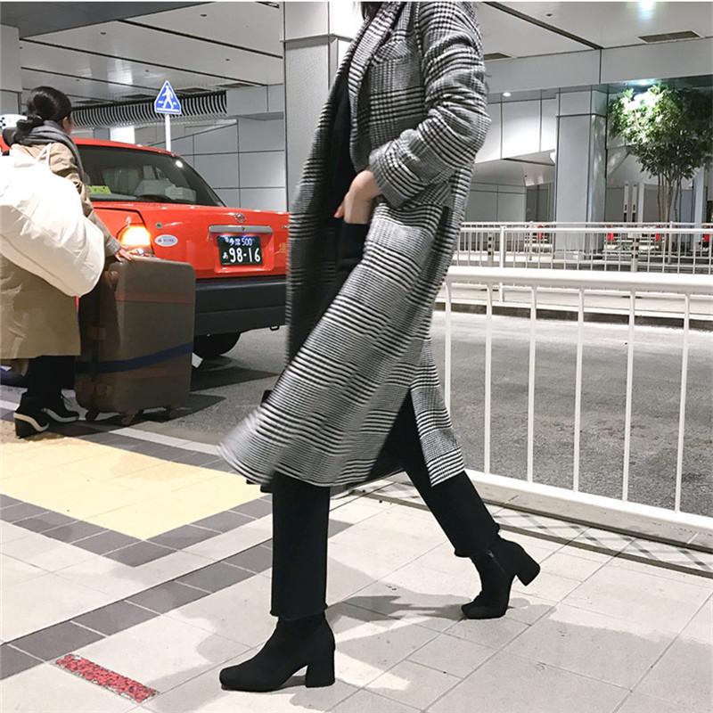 【即納】韓国 ファッション アウター コート 秋 冬 カジュアル SPTXD248  グレンチェック ダブル ロング チェスター オフィス エレガント オルチャン シンプル 定番 セレカジの写真8枚目