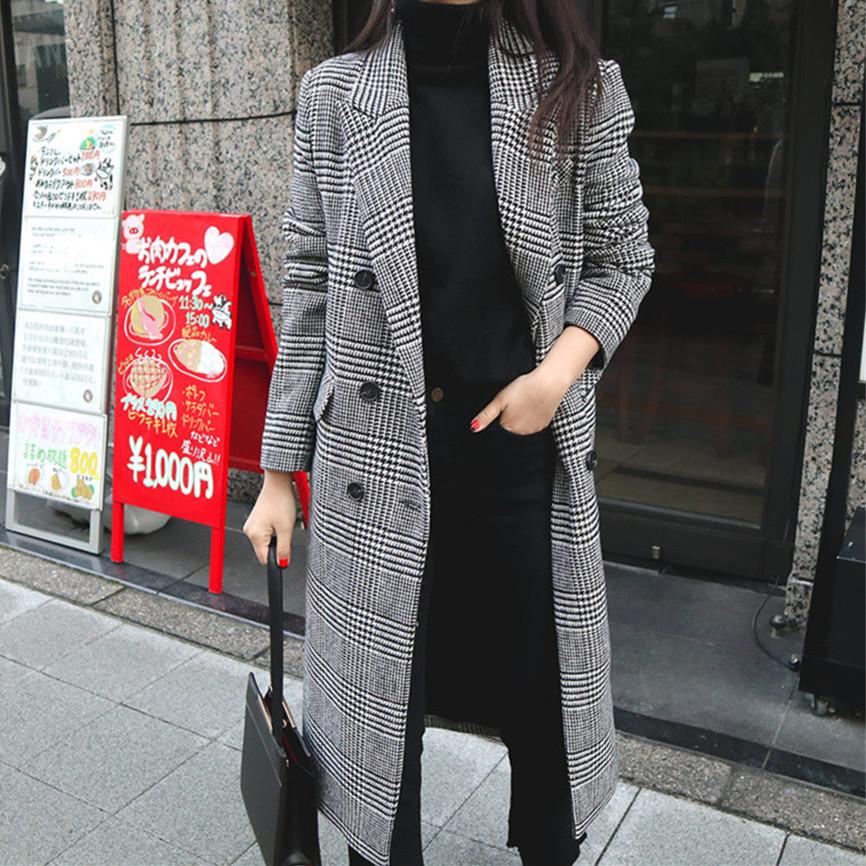 【即納】韓国 ファッション アウター コート 秋 冬 カジュアル SPTXD248  グレンチェック ダブル ロング チェスター オフィス エレガント オルチャン シンプル 定番 セレカジの写真9枚目