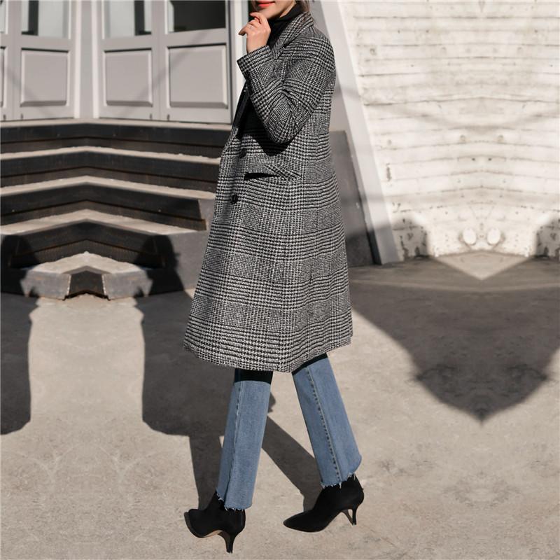 【即納】韓国 ファッション アウター コート 秋 冬 カジュアル SPTXD248  グレンチェック ダブル ロング チェスター オフィス エレガント オルチャン シンプル 定番 セレカジの写真12枚目