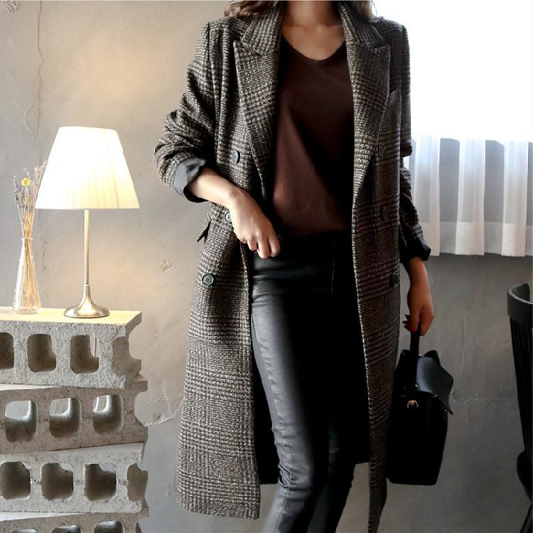 【即納】韓国 ファッション アウター コート 秋 冬 カジュアル SPTXD248  グレンチェック ダブル ロング チェスター オフィス エレガント オルチャン シンプル 定番 セレカジの写真14枚目