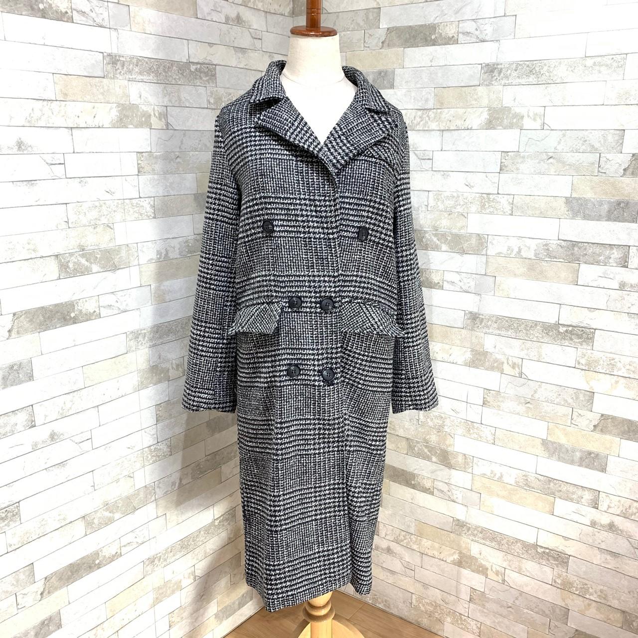 【即納】韓国 ファッション アウター コート 秋 冬 カジュアル SPTXD248  グレンチェック ダブル ロング チェスター オフィス エレガント オルチャン シンプル 定番 セレカジの写真15枚目