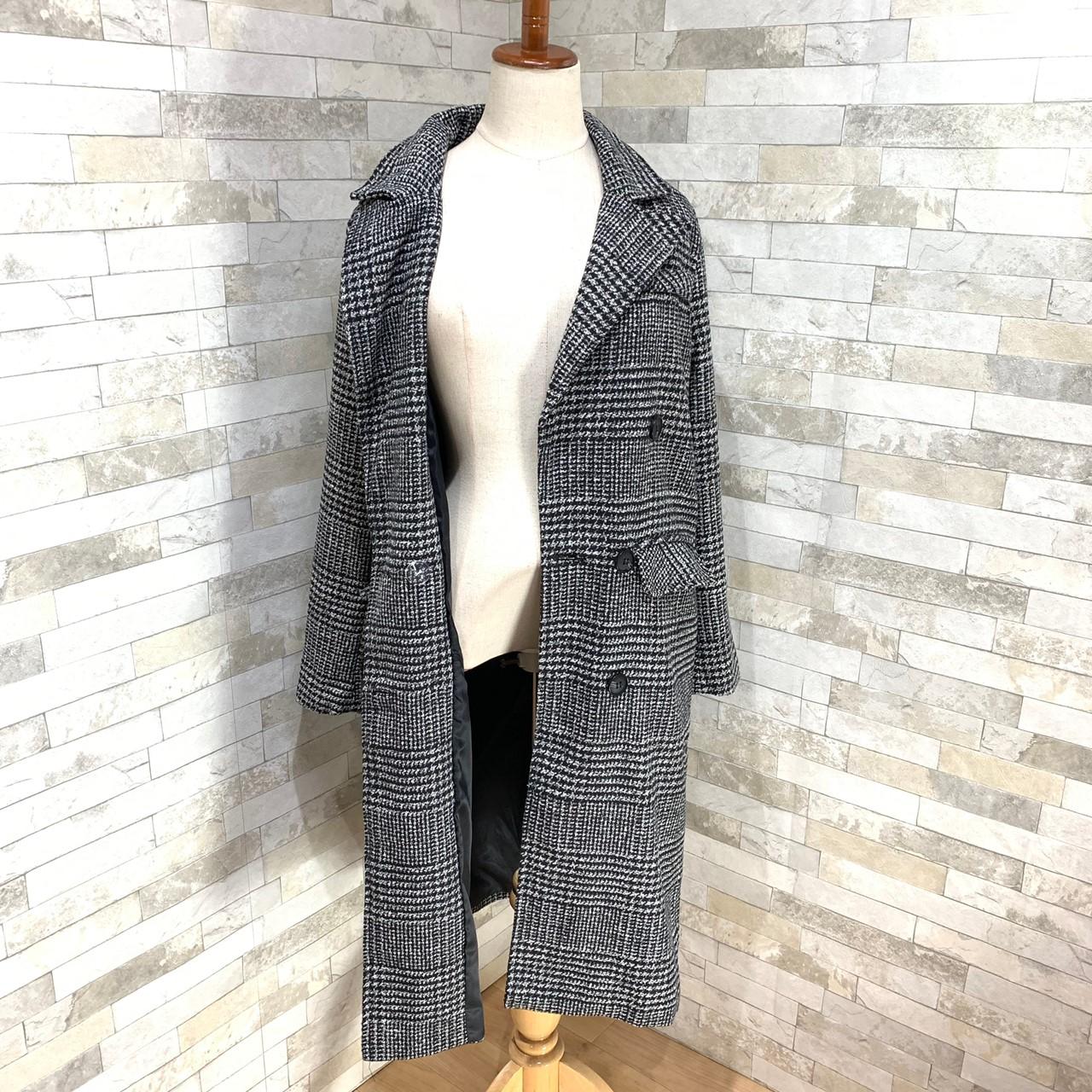 【即納】韓国 ファッション アウター コート 秋 冬 カジュアル SPTXD248  グレンチェック ダブル ロング チェスター オフィス エレガント オルチャン シンプル 定番 セレカジの写真18枚目