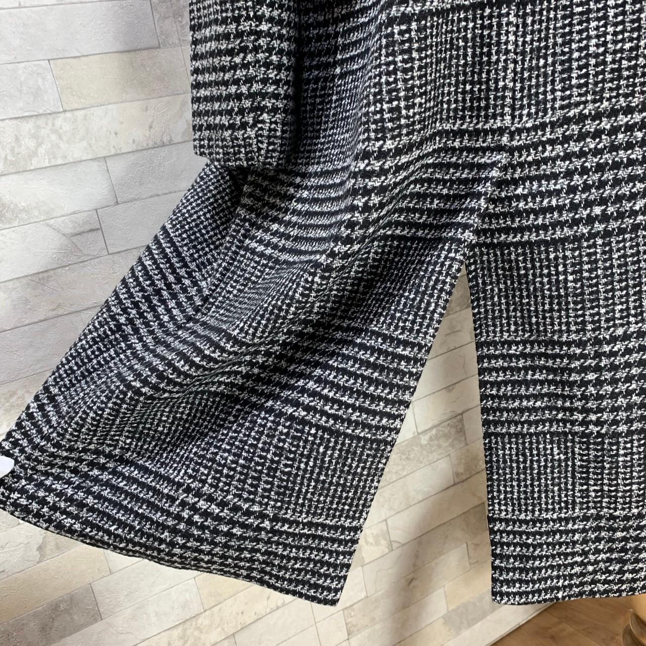 【即納】韓国 ファッション アウター コート 秋 冬 カジュアル SPTXD248  グレンチェック ダブル ロング チェスター オフィス エレガント オルチャン シンプル 定番 セレカジの写真20枚目