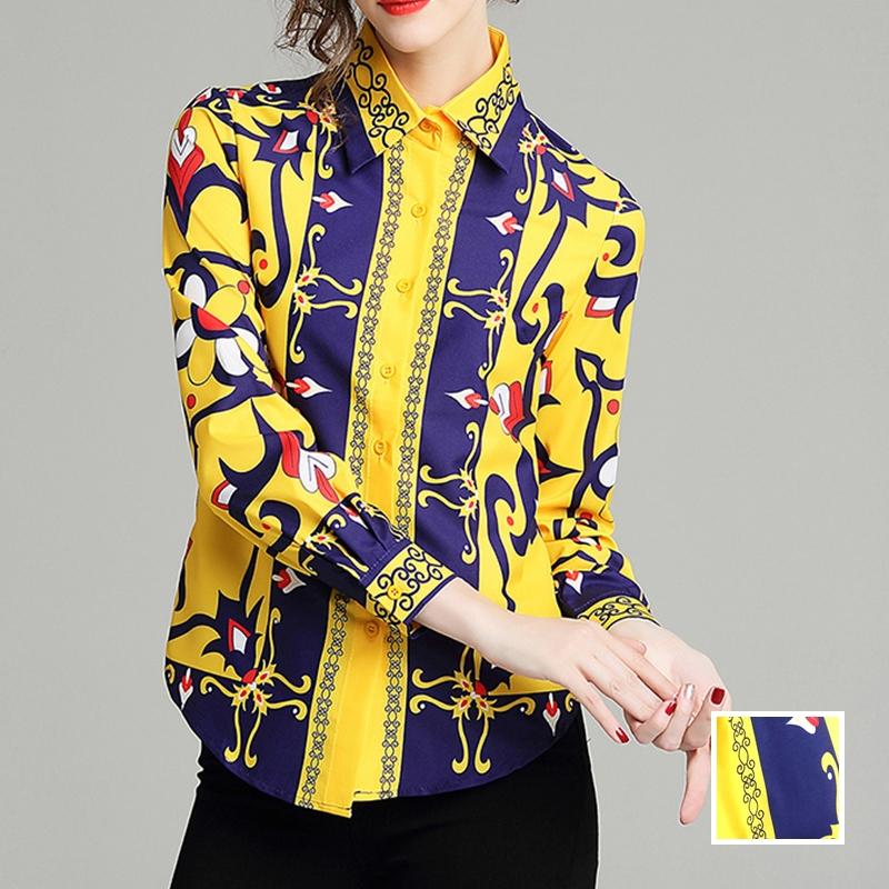 韓国 ファッション トップス ブラウス シャツ 秋 冬 パーティー ブライダル PTXD351  ビビッド レトロ オリエンタル スカーフ柄 ドレス オフィス 二次会 セレブ きれいめの写真1枚目