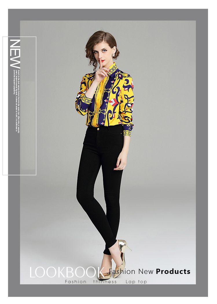 韓国 ファッション トップス ブラウス シャツ 秋 冬 パーティー ブライダル PTXD351  ビビッド レトロ オリエンタル スカーフ柄 ドレス オフィス 二次会 セレブ きれいめの写真3枚目