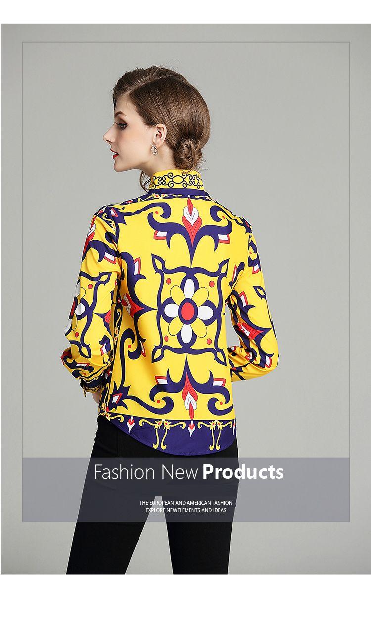 韓国 ファッション トップス ブラウス シャツ 秋 冬 パーティー ブライダル PTXD351  ビビッド レトロ オリエンタル スカーフ柄 ドレス オフィス 二次会 セレブ きれいめの写真11枚目