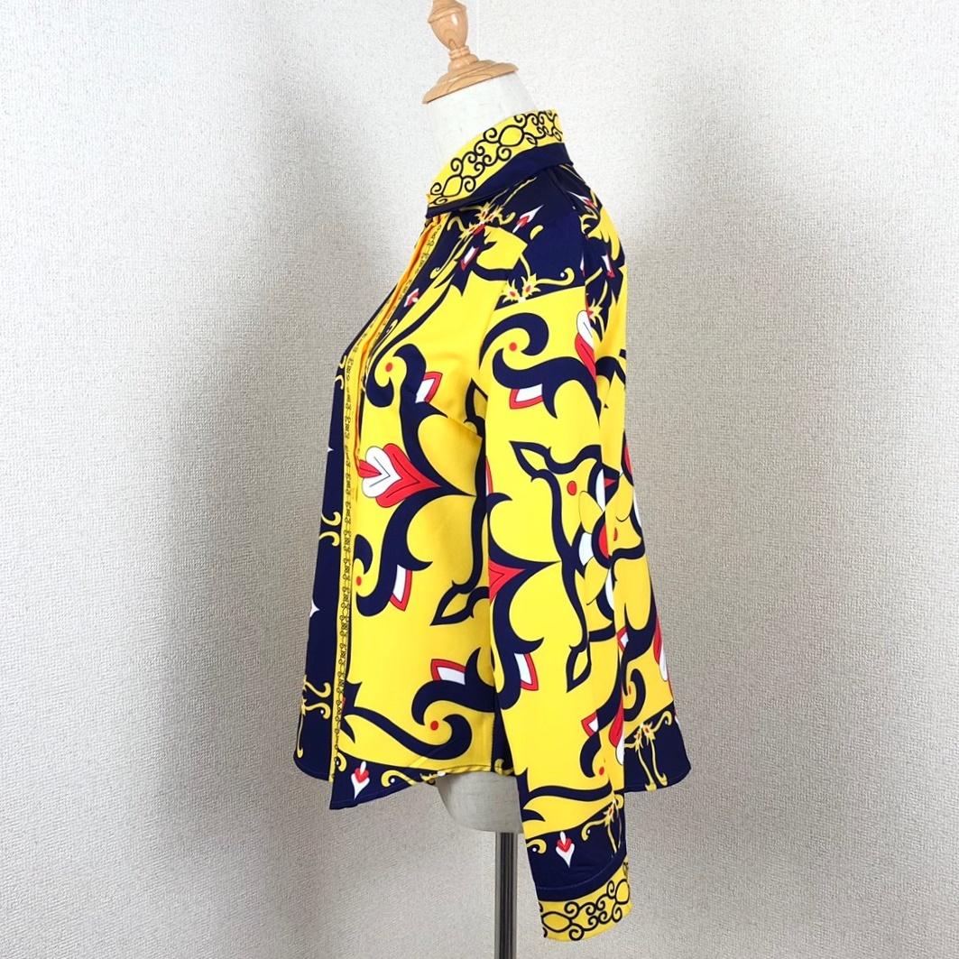 韓国 ファッション トップス ブラウス シャツ 秋 冬 パーティー ブライダル PTXD351  ビビッド レトロ オリエンタル スカーフ柄 ドレス オフィス 二次会 セレブ きれいめの写真14枚目