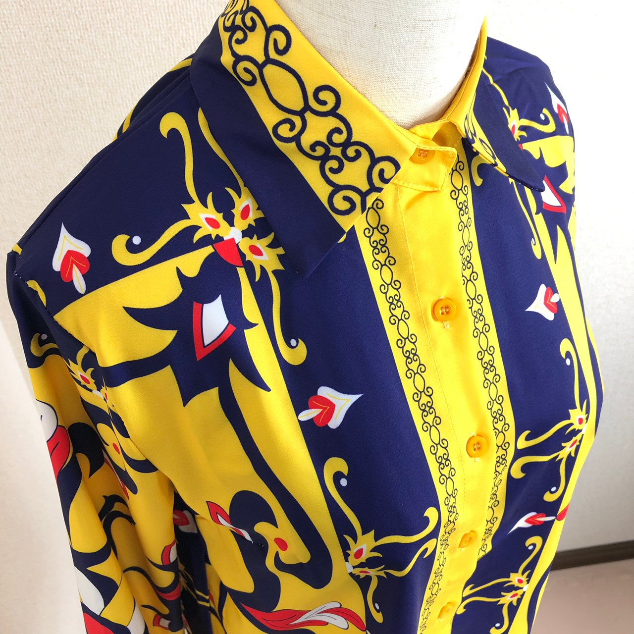 韓国 ファッション トップス ブラウス シャツ 秋 冬 パーティー ブライダル PTXD351  ビビッド レトロ オリエンタル スカーフ柄 ドレス オフィス 二次会 セレブ きれいめの写真16枚目