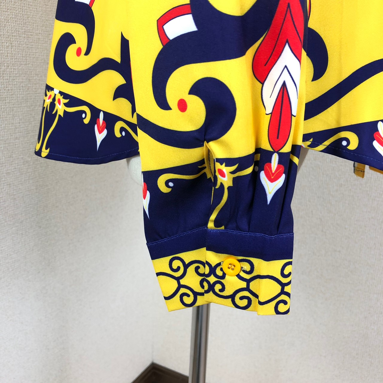 韓国 ファッション トップス ブラウス シャツ 秋 冬 パーティー ブライダル PTXD351  ビビッド レトロ オリエンタル スカーフ柄 ドレス オフィス 二次会 セレブ きれいめの写真17枚目