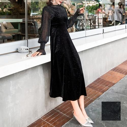 韓国 ファッション パーティードレス 結婚式 お呼ばれドレス セットアップ 秋 冬 パーティー ブライダル PTXD370  グリッター プルオーバー ロング キャミソール 二次会 セレブ きれいめの写真1枚目