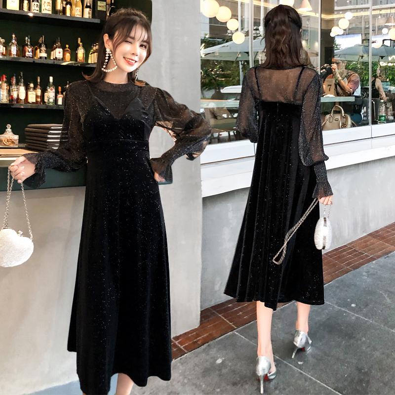 韓国 ファッション パーティードレス 結婚式 お呼ばれドレス セットアップ 秋 冬 パーティー ブライダル PTXD370  グリッター プルオーバー ロング キャミソール 二次会 セレブ きれいめの写真3枚目