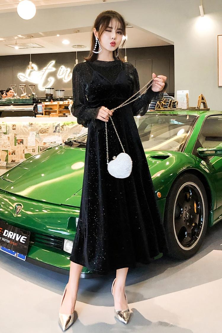韓国 ファッション パーティードレス 結婚式 お呼ばれドレス セットアップ 秋 冬 パーティー ブライダル PTXD370  グリッター プルオーバー ロング キャミソール 二次会 セレブ きれいめの写真6枚目