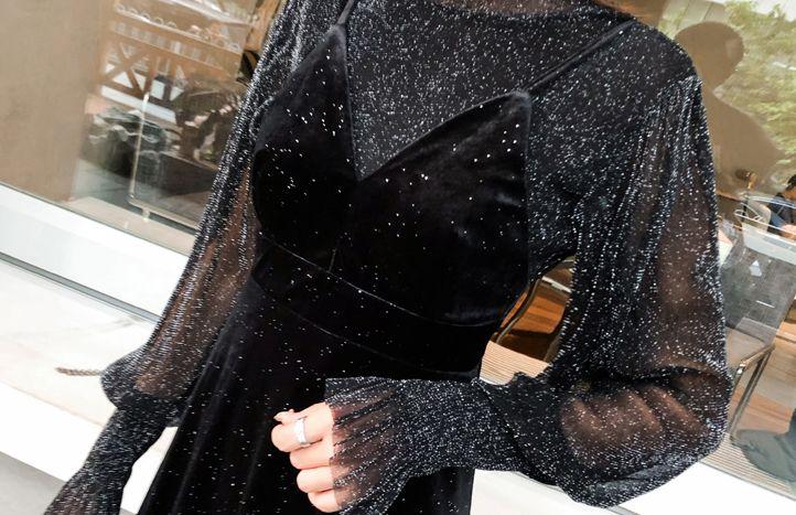 韓国 ファッション パーティードレス 結婚式 お呼ばれドレス セットアップ 秋 冬 パーティー ブライダル PTXD370  グリッター プルオーバー ロング キャミソール 二次会 セレブ きれいめの写真7枚目