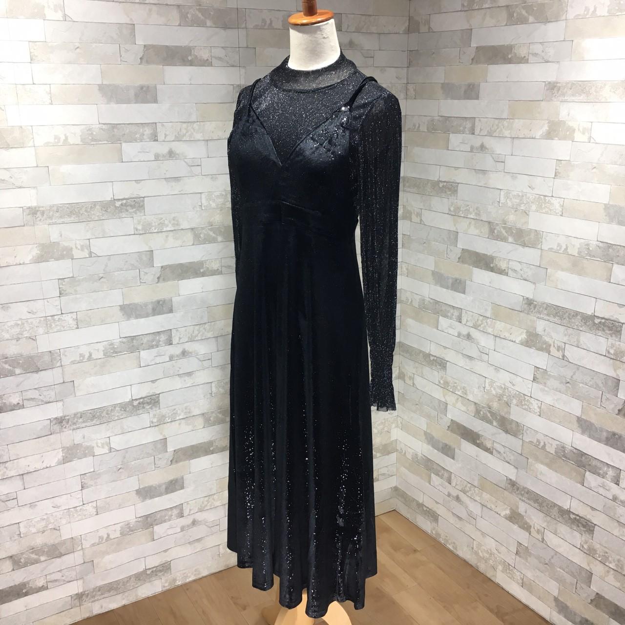 韓国 ファッション パーティードレス 結婚式 お呼ばれドレス セットアップ 秋 冬 パーティー ブライダル PTXD370  グリッター プルオーバー ロング キャミソール 二次会 セレブ きれいめの写真12枚目