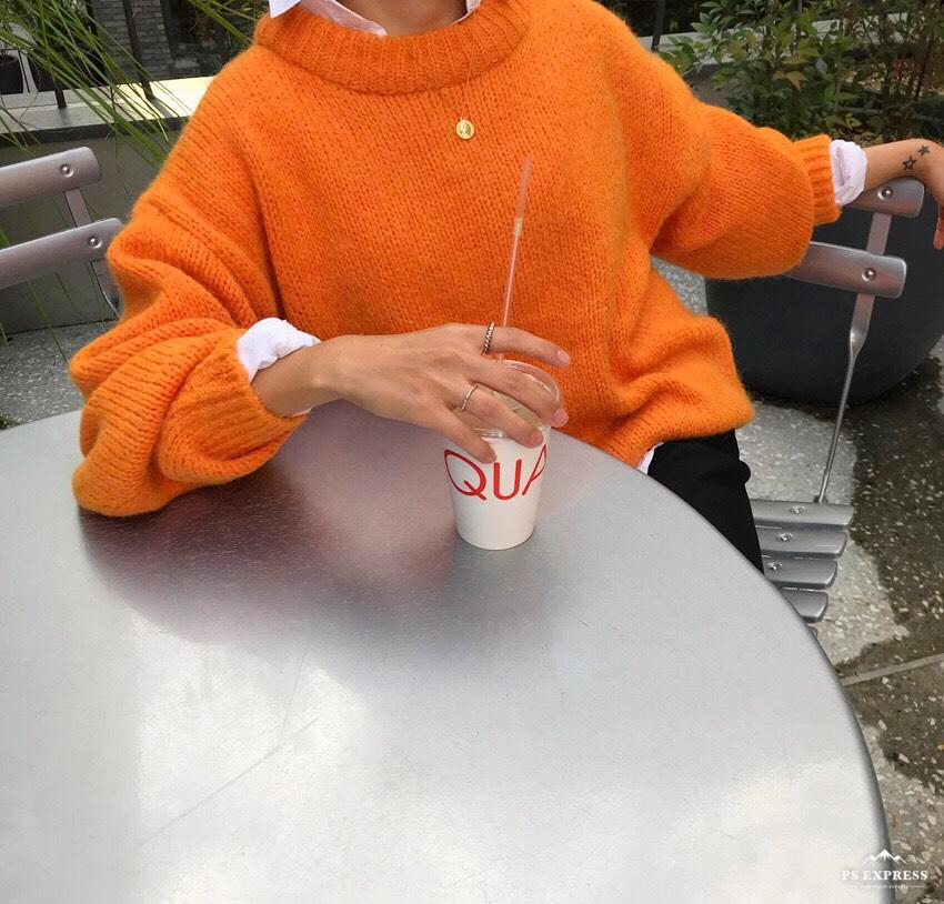 【即納】韓国 ファッション トップス ニット セーター 秋 冬 カジュアル SPTXD511  ビタミンカラー クルーネック オーバーサイズ リブ ドロップショル オルチャン シンプル 定番 セレカジの写真4枚目