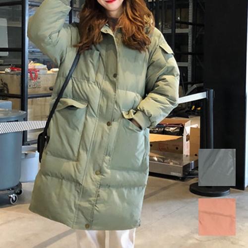 【即納】韓国 ファッション アウター ダウンジャケット ダウンコート 秋 冬 カジュアル SPTXD596  ペールカラー もこもこ ロング オーバーサイズ エコ オルチャン シンプル 定番 セレカジの写真1枚目