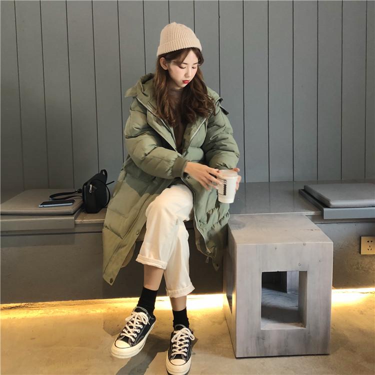 【即納】韓国 ファッション アウター ダウンジャケット ダウンコート 秋 冬 カジュアル SPTXD596  ペールカラー もこもこ ロング オーバーサイズ エコ オルチャン シンプル 定番 セレカジの写真2枚目